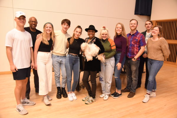 Dee Dee Bridgewater with masterclass students at the Newman Center for the Performing Arts