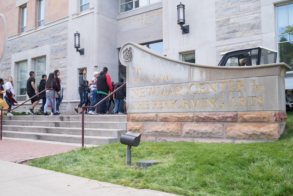 Students entering Newman Center for the Performing Arts